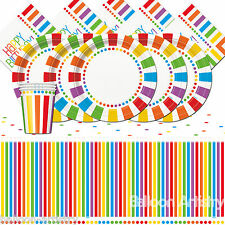 Rainbow Colours Children's Happy Birthday Party Tableware Pack For 16 People