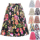 Vintage Flamingo Flower Skirt Multi Color Mid Length Hell Bunny Retro 8 10 12 14