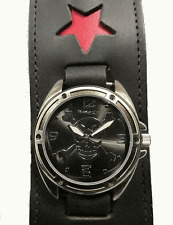new! RED STAR SKuLL CROSSBoNES WaTcH WIDE LEATHER CuFF Nemesis RoCK PiRATE