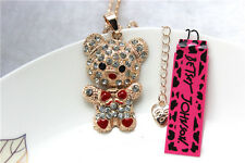 New Betsey Johnson Fashion Necklace lovely Crystal BearPendant Sweater Chain Y60