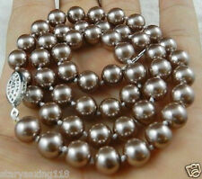 """8MM Champagne South Sea Shell pearl necklace 18"""" YX01"""