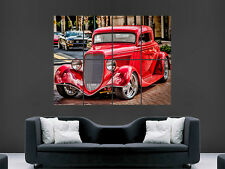 RED HOT ROD CAR WALL POSTER USA FORD CLASSIC WHEELS PICTURE PRINT LARGE HUGE