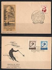 POLAND 1957 TWO FDC's WINTER OLYMPICS & STO LAT NAUKI