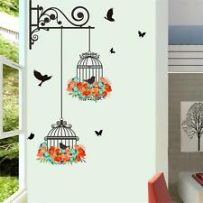 Colorful Flower Flying Black Bird birdcage Wall Sticker Decal Living Room decor