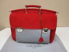 LOCMAN ITALY Women's Red Suede Double Gusset Briefcase Hand Bag LC0037-057