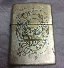 Harley Davidson Antique Silver Plate Scrimshaw Eagle Zippo Lighter 1990s