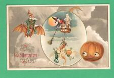 1915 WINSCH HALLOWEEN POSTCARD WITCH HOT-AIR BALLOON VEGGIE PEOPLE ELF BAT JOL
