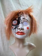 Creepy Mauled Eye Clown Costume Mask & Wig Unexpected Irus Battered Doll Zombie