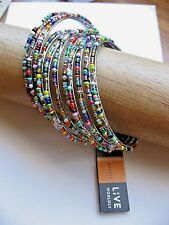 Live Worldly Bracelet Set of 10 Africa Brightly Beaded on Stainless NWT Silver