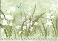 WHITE DAISIES AND BLUE BUTTERFLIES WEEDS BLUE GARDEN FENCE  Wallpaper Border