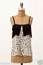 NWOT Anthropologie Girls Savoy ivory black Haute Silhouettes Silk Tank Top 6