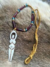 Earth Mother Goddess- all-natural Necklace- pagan primitive native- wood leather