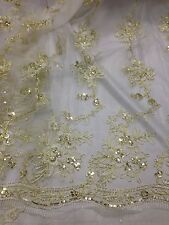 "WHITE MESH W/SEQUINS GOLD CORDED EMBROIDERY LACE FABRIC 50"" WiIDE 1 YARD"