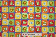 Rockaby Baby Boy Patch Blue Planes Boats Monkeys Cotton Flannel Fabric  BTY (H)