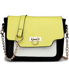 Women Handbag Cross Body Shoulder Tote Bag Chain Strap Satchel Yellow E1638YW