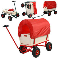 Children Kids Toys Cart Wagon Stroller Outdoor w/ Wood Railing & Red Covered New