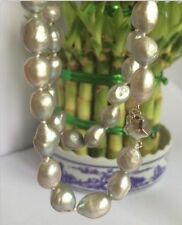 """Natural 9-10mm baroque Silvery white freshwater pearl necklace 18"""""""