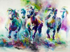 Hand-painted Animal Oil Painting Art on Canvas Abstract colored horse 24x32inch
