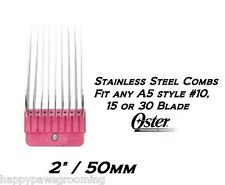 "OSTER A5/A6 STAINLESS STEEL 2""/50mm GUIDE Clipper COMB*Fit #10 Andis,Wahl Blade"