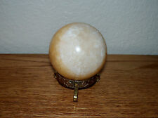 Polished ORANGE CALCITE SPHERE W/ wooden  STAND Mexico 8 oz.  230g / 53mm 2""