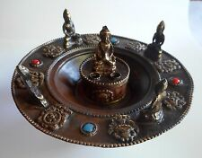 Round Tibetan Auspicious Symbol Copper Gemstone Buddha Incense Burner