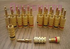 8 Pcs Pack Premium 24k Gold Banana Wire Audio Speaker Plug Male Connector 4 Pair