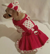 Lady Love 4 piece Harness dress set/dog dress/dog clothes/chihuahua/ xs,s,m, l