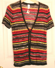 J JONES NEW YORK S KNIT CARDIGAN SS CLEAR SEQUENCE STRIPE BROWN HOT PINK YELLOW