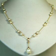 14K solid y/gold natural AAA freshwater white pearl elegant necklace 22 inches