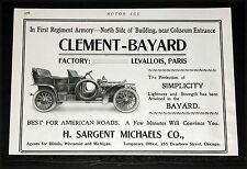1906 OLD MAGAZINE PRINT AD, CLEMENT-BAYARD MOTOR CAR, BEST FOR AMERICAN ROADS!