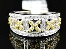 Ladies 10K White Gold Canary/White Diamond Engagement Fashion Designer Band Ring