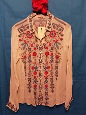 JWC m medium sugar YOSHI BUTTON DOWN BLOUSE JWLA Johnny Was nwt new collection