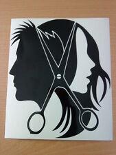 unisex barbers hairdressers scissors shop window sign doors vinyl sticker decal