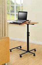 Laptop Rolling Desk Adjustable Tilt Stand Portable Caster Cart Bed Side Table