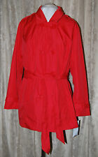 G BY GIULIANA RANCIC TAILORED DOUBLE BREASTED TRENCH COAT WITH TIE BELT CORAL 1X