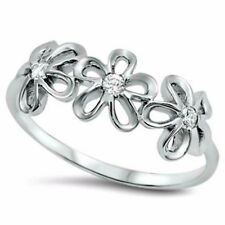 .925 Sterling Silver Ring CZ Round Cut Flower Knuckle Thumb Midi Size 12 New x18
