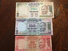 Lot of 3 Reserve Bank of India 20 & 100, 500 Rupees Paper Notes