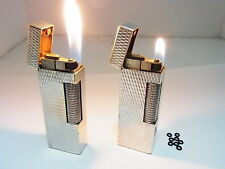Vintage DUNHILL Rollagas Lighter Silver Lot 2 Gas leaks W/8p O-rings Auth Swiss