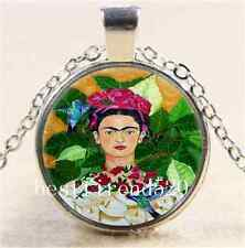 Frida Kahlo and Bird Cabochon Glass Tibet Silver Chain Pendant  Necklace#3457