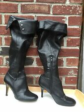 Nine West Alexa Black Leather Over the Knee Boots 7.5 Cuffable ! RARE!