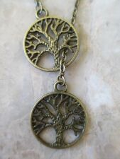 "Vintage Boho Bronze Tree of Life Lariat Necklace 18""-Wicca Jewish"