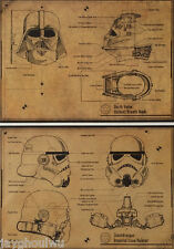 2PC Star Wars Knight Soldier Mask Blueprint Poster Old Retro Vintage Collection
