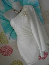 **STUNNING** JANE NORMAN SIZE10/12 IVORY LACE ONE SHOULDER DRESS *FAST POSTAGE**
