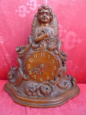 beautiful,antique mantel clock__Figurine Clock__wood carved__31cm__Watch case