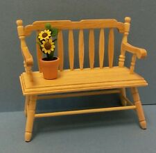 Dollhouse miniature 1:12 scale oak spindle deacons bench & potted sun flower