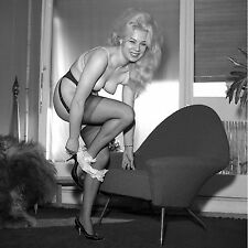 1960s Nude Blonde in Black stockings removing her white panties 8 x 8 Photograph