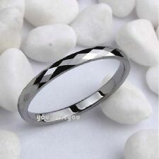 NEW Diamond Faceted Shiny Tungsten Carbide Band Jewelry Women's Wedding Ring