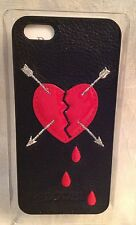 New! BODHI Apple iPhone 5 LEATHER Black BLEEDING HEART Hard CELL Cover Case $34