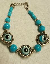 EVIL EYE HAND MADE BRACLETS BEADS AND SILVER AJUSTABLE 6 TO 8 INCHES