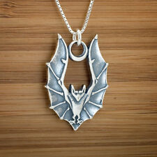 925 Sterling Silver Vampire Bat in Flight Moon Pendant FREE Cable Link Chain